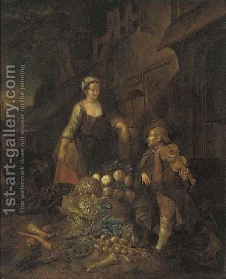 A Vegetable Seller With A Fiddle Player by (after) Hendrick Maertensz. Sorch (see Sorgh) - Reproduction Oil Painting