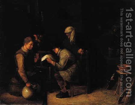 A young boy reading a letter to a boor seated on a barrel in an inn by (after) Hendrick Maertensz. Sorch (see Sorgh) - Reproduction Oil Painting