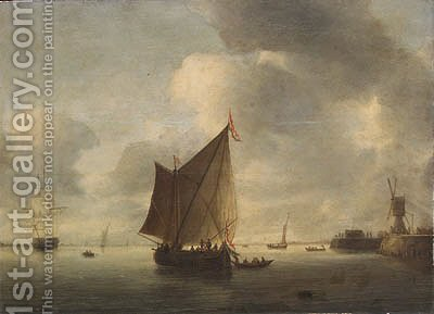Dutch shipping becalmed in an estuary by (after) Hendrick Van Anthonissen - Reproduction Oil Painting