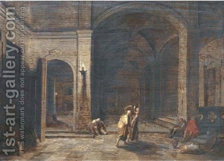 The interior of a crypt by night with the Liberation of Saint Peter by (after) Hendrick Van Steenwijk - Reproduction Oil Painting