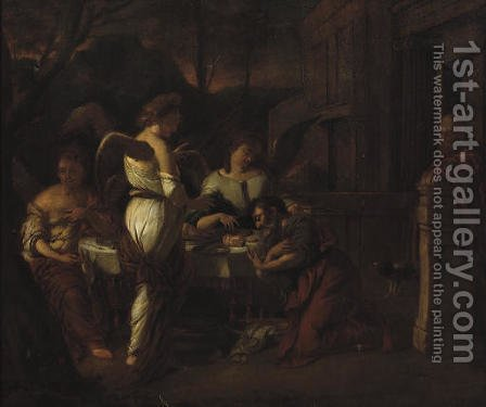 Abraham entertaining the three Angels by (after) Hendrick Heerschop Or Herschop - Reproduction Oil Painting