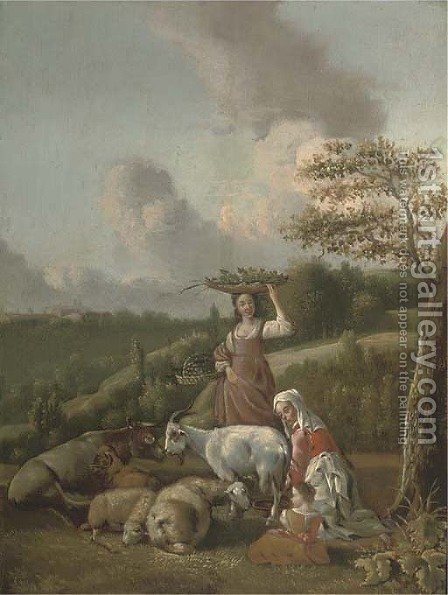 A mother and child milking a goat and a girl carrying baskets of fruit and vegetables in a wooded landscape by (after) Hendrik Mommers - Reproduction Oil Painting