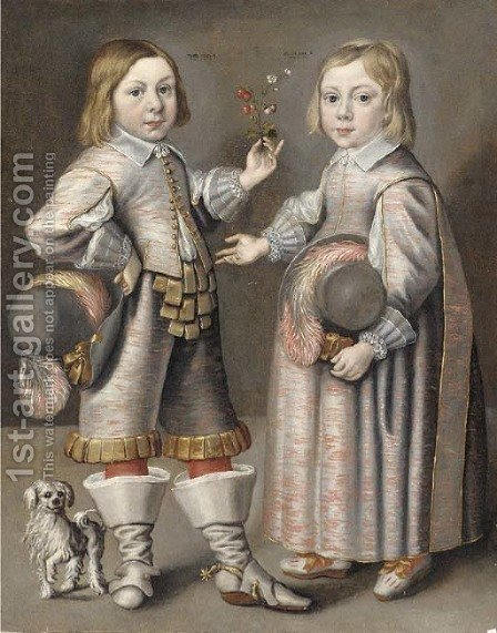 Double portrait of a boy and girl, aged 4 and 3 by (after) Hendrik Munnichoven - Reproduction Oil Painting