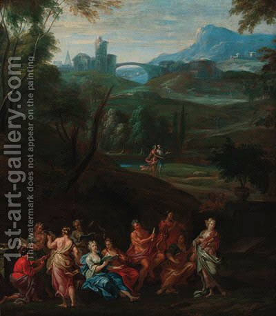 Apollo and the Muses on mount Parnassus by (after) Hendrik Van Balen, I - Reproduction Oil Painting