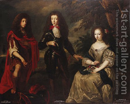 Group Portrait of James, Duke of York, Charles, Prince of Wales and Henrietta, Duchess of Orleans by (after) Henri Gascars - Reproduction Oil Painting