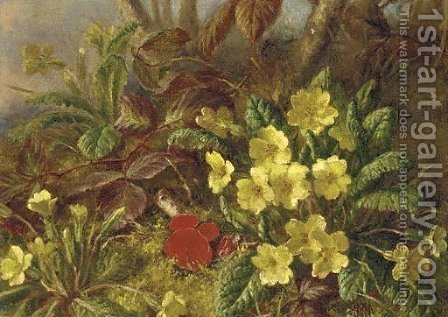 Primroses and brambles by (after) Henry A. Major - Reproduction Oil Painting