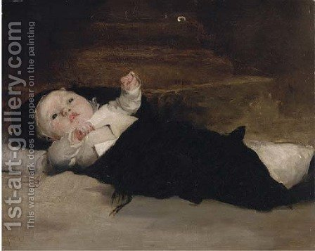 A baby in swaddling clothes by (after) Henry Herbert La Thangue - Reproduction Oil Painting