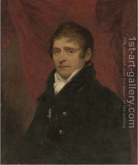 Portrait of Archibald Little of Shabden Park, Surrey, bust-length, in a black coat before a red curtain by (after) Howard, H. - Reproduction Oil Painting