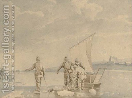 Dutch fishermen netting their catch on a frozen waterway by (after) Johannes Hermanus Snr Koekkoek - Reproduction Oil Painting