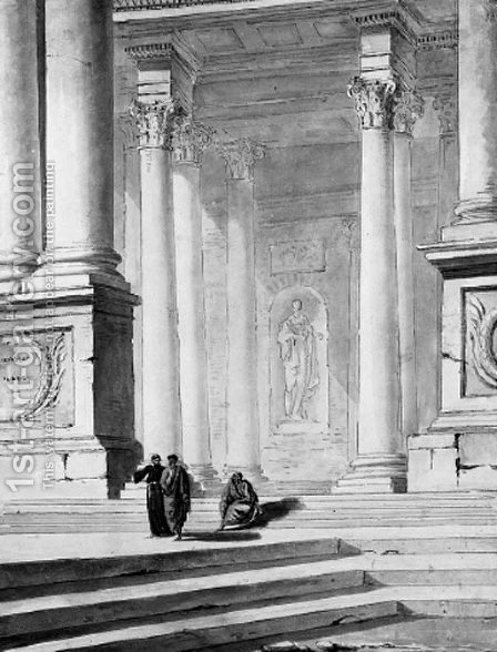 Three figures disputing under a classical portico by (after) Hubert Robert - Reproduction Oil Painting