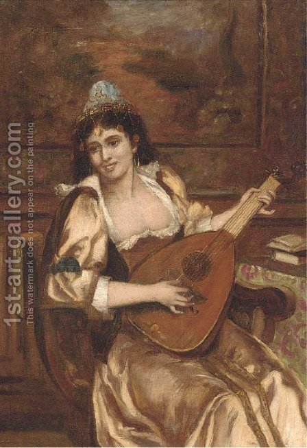 The recital by (after) Hugo Wilhelm Kauffmann - Reproduction Oil Painting