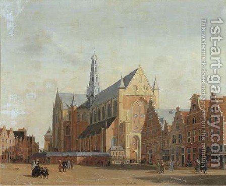 St. Bavo's Cathedral and the Groote Markt, Haarlem by (after) Isaac Ouwater - Reproduction Oil Painting