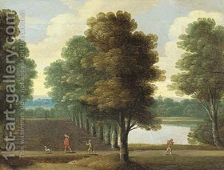 A wooded landscape with an elegant traveller in an avenue of trees by a lake by (after) Isaac Van Oosten - Reproduction Oil Painting