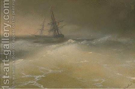 Ships in a story sea by (after) Ivan Konstantinovich Aivazovsky - Reproduction Oil Painting