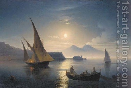 The bay of Naples by moonlight by (after) Ivan Konstantinovich Aivazovsky - Reproduction Oil Painting