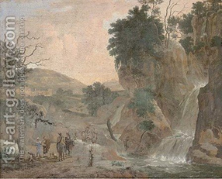 A mountainous river landscape with travellers by a waterfall by (after) Jacob De Heusch - Reproduction Oil Painting