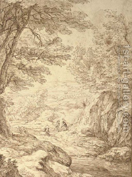 A rocky landscape with figures on a path by (after) Jacob Esselens - Reproduction Oil Painting