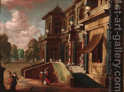 Elegant couples before a mansion by (after) Jacobus Saeys - Reproduction Oil Painting
