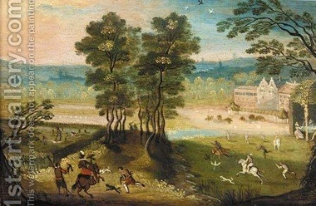 A hunting party in a landscape by (after) Jacob Grimmer - Reproduction Oil Painting