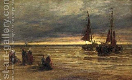 Figures on the shore waiting for the catch by Jacob Henricus Maris - Reproduction Oil Painting