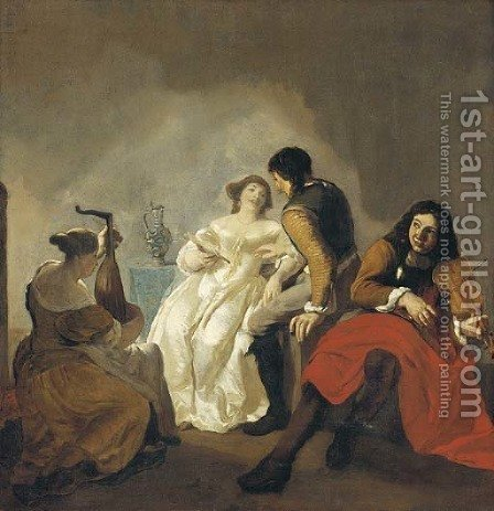 Elegant company making music in an interior by (after) Jacob Ochtervelt - Reproduction Oil Painting
