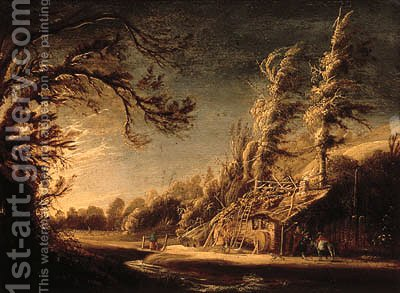 A wooded landscape with peasants and a donkey before a cottage by (after) Jacob Van Geel - Reproduction Oil Painting