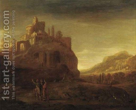 An open landscape with a hilltop fort, travellers on a path in the foreground by (after) Jacob Willemsz De The Elder Wet - Reproduction Oil Painting