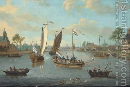 The river Amstel, looking towards the Hooge Sluis, a view of Amsterdam beyond by (after) Jacobus Storck - Reproduction Oil Painting