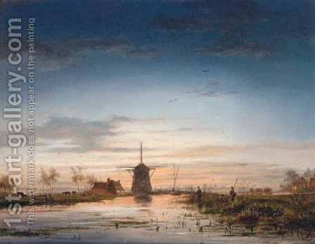 Anglers beside a Canal with a Windmill beyond by (after) Jacobus Theodorus Abels - Reproduction Oil Painting