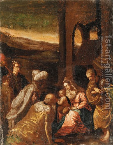 The Adoration of the Magi by (after) Jacopo Bassano (Jacopo Da Ponte) - Reproduction Oil Painting