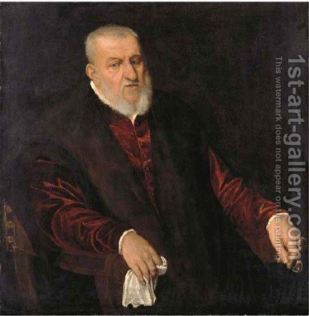 Portrait of a bearded gentleman by (after) Jacopo Tintoretto (Robusti) - Reproduction Oil Painting
