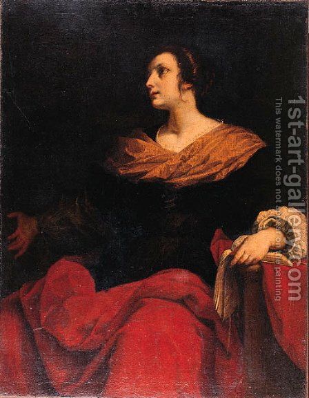 A female Saint by (after) Jacopo Vignali - Reproduction Oil Painting