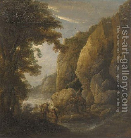 A mountain gorge with travellers on a path by (after) Jacques D' Arthois - Reproduction Oil Painting