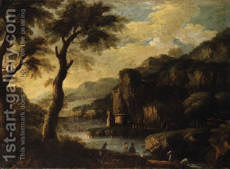 A mountainous River Landscape with Figures on a Path by (after) Jacques D' Arthois - Reproduction Oil Painting