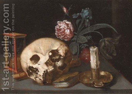 A vanitas still life with a skull by (after) Jacques Linard - Reproduction Oil Painting