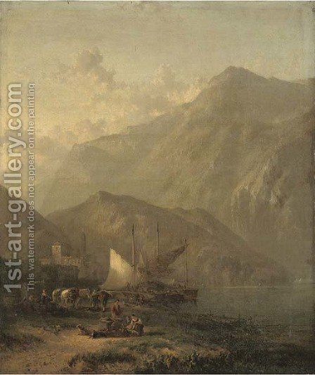 Mountainous lake landscape with figures and boats in the foreground and a villa beyond by (after) James Baker Pyne - Reproduction Oil Painting