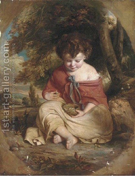 A child with a bird's nest by (after) James Northcote - Reproduction Oil Painting