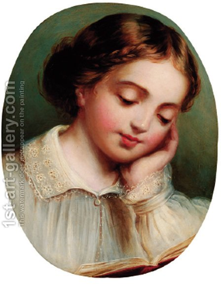 A young girl reading by (after) James Sant - Reproduction Oil Painting