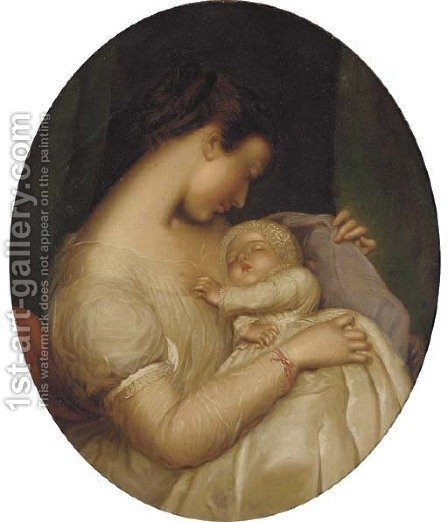 Mother and child by (after) James Sant - Reproduction Oil Painting