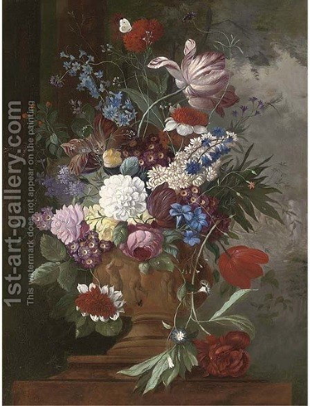 Tulips, roses, carnations, auriculas and other spring flowers in a urn on a ledge by (after) James Sillet - Reproduction Oil Painting