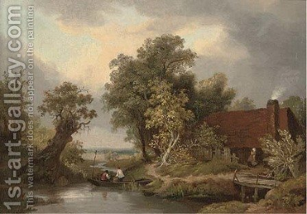 Figures in a punt by a cottage by (after) James Stark - Reproduction Oil Painting