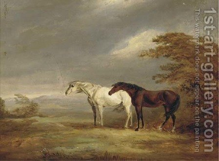 A chestnut and grey in a windy landscape by (after) James Ward - Reproduction Oil Painting