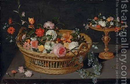 A basket of flowers with a tazza on a wooden ledge by (after) Jan, The Younger Brueghel - Reproduction Oil Painting
