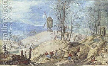 A hilly wooded landscape with a windmill by (after) Jan The Elder Brueghel - Reproduction Oil Painting