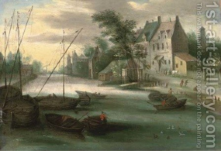 A riverside town with boats in the foreground by (after) Jan, The Younger Brueghel - Reproduction Oil Painting