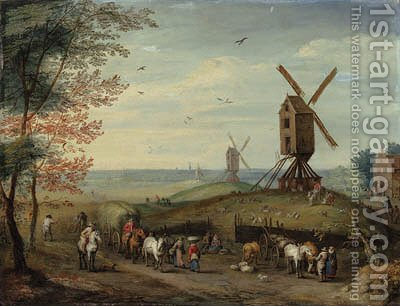 An autumn landscape with windmills and peasants harvesting by (after) Jan, The Younger Brueghel - Reproduction Oil Painting
