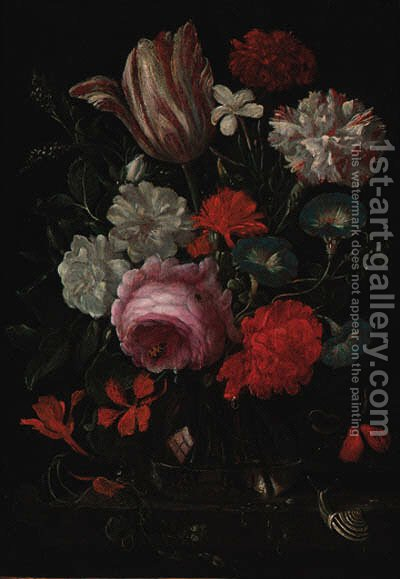 Roses, carnations, convolvulus and a tulip with insects and a snail on a ledge by (after) Jan Davidsz. De Heem - Reproduction Oil Painting