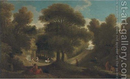 A wooded landscape with figures resting and travellers on a track by (after) Jan Frans Van Orizzonte (see Bloemen) - Reproduction Oil Painting