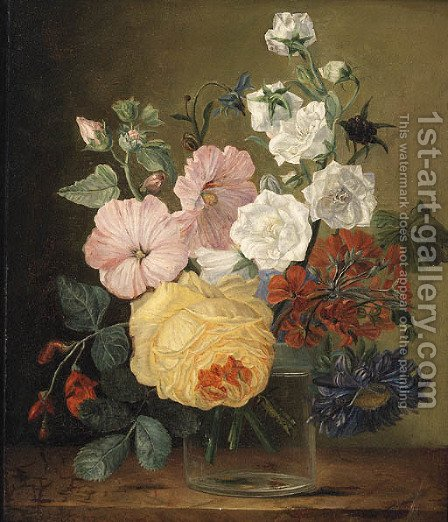 Flowers in a glass Jar on a Ledge by (after) Jan Frans Van Dael - Reproduction Oil Painting