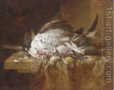 A dead turkey and songbirds on a partly-draped table by (after) Jan Fyt - Reproduction Oil Painting